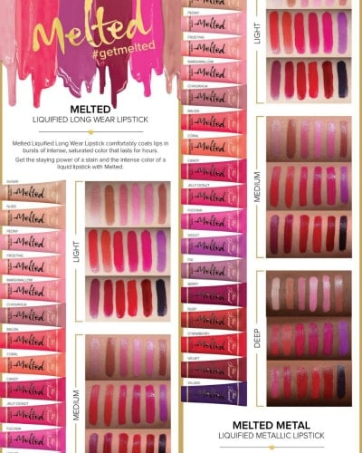 Swatches of Melted Matte Liquified Long Wear Lipstick