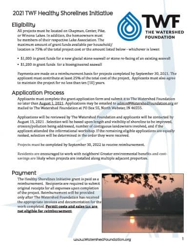 Grant application packet for Warsaw-area & Winona Lakes