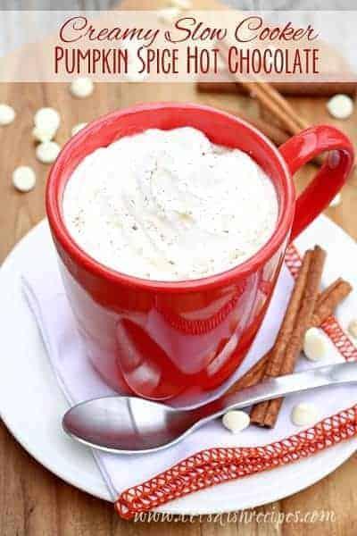Creamy Slow Cooker Pumpkin Spice Hot Chocolate