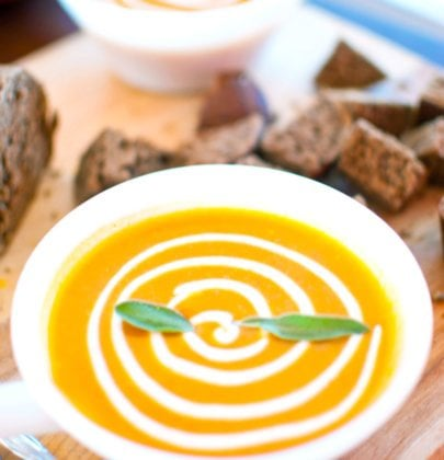 Crock Pot Pumpkin Bisque w/ Gingerbread Croutons & Cinnamon Cream