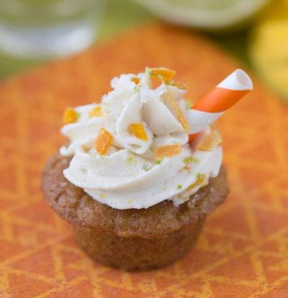 Mini Caramelized Mango Margarita Cupcakes