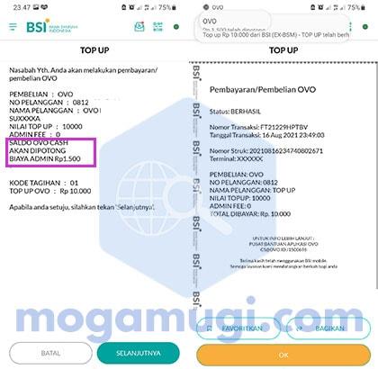 Biaya Top Up OVO di BSI Mobile