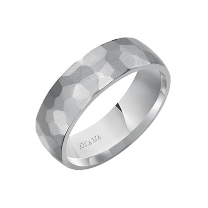 Comfort Fit Wedding Band with hammer finish