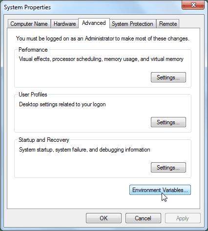 Windows 7 - Environment Variables