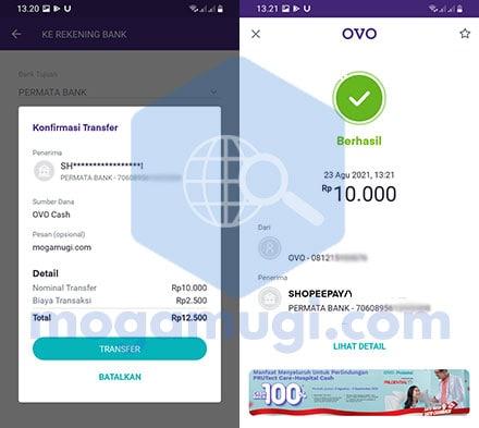 Top Up ShopeePay Via OVO Berhasil