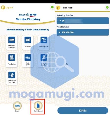 Cara Tarik Tunai BTN Tanpa Kartu Via BTN Mobile