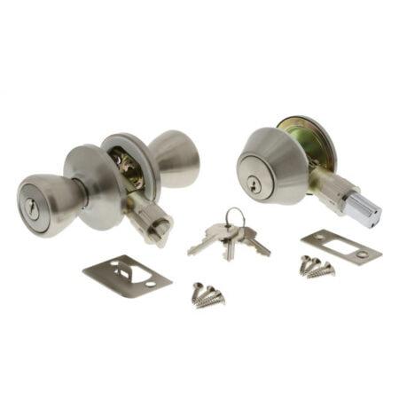 Entry Door Lock Set, Deadbolt, Stainless Steel