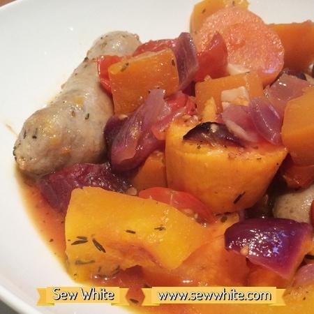 Sew White harvest autumn sausage tray bake 2