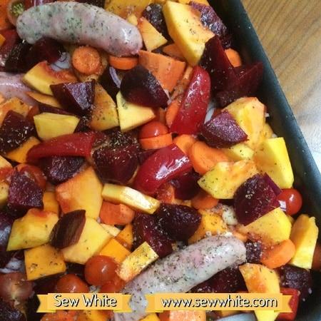 Sew White harvest autumn sausage tray bake 4