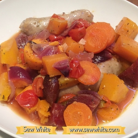 Sew White harvest autumn sausage tray bake 5