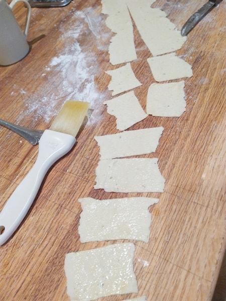 Sourdough crackers ready to bake