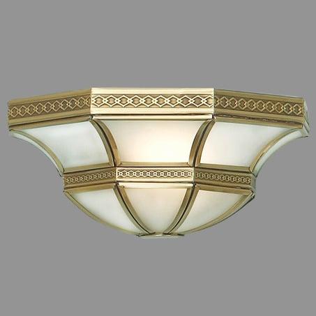 Flush Art Deco Wall Light Opal glass bronze metalwork