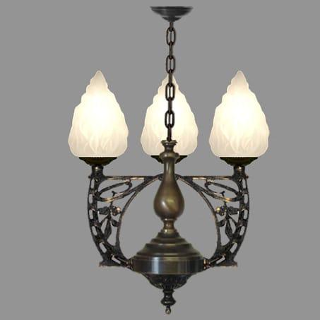 Art nouveau three light pendant