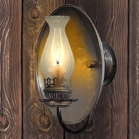 Rustic candle reflector wall light fluted clear chimney