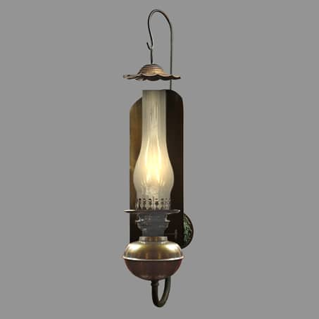 Rustic Oil reflector wall light with smoke guard
