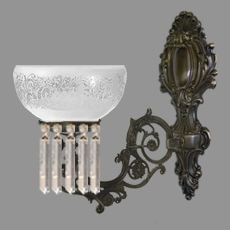 Single Arm Victorian Wall Light with Crystal Drops