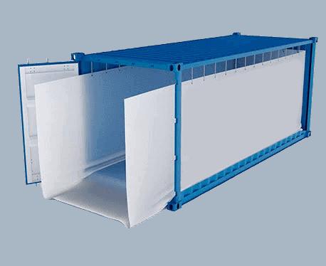 Container liner bags with open door