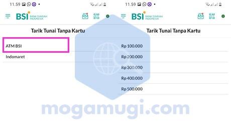 Pilih ATM BSI dan Nominal