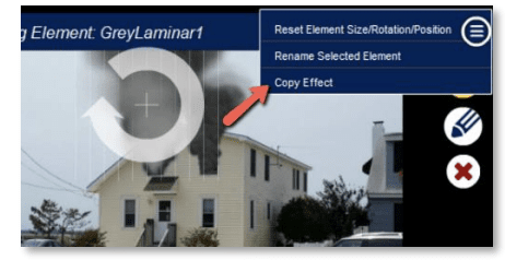 Selecting a fire simulation effect