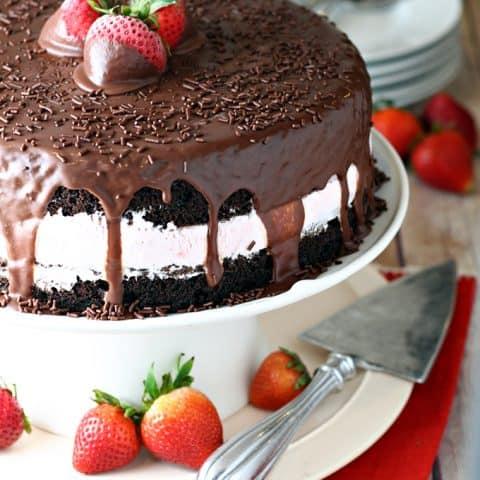 Chocolate Covered Strawberry Ice Cream Cake