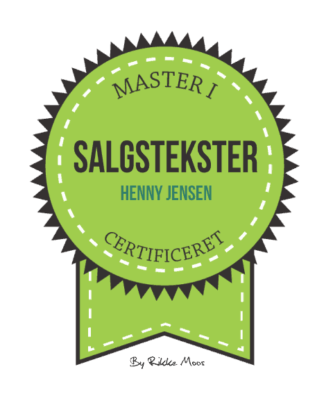 Henny Jensen is certified Master in Sales Copywriting. Enhance your online visibility with website texts, customer success stories, press releases etc. written by Henny Jensen. Call +45 30 63 84 89 or mail to info@yml.dk