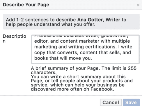 describe your page on Facebook