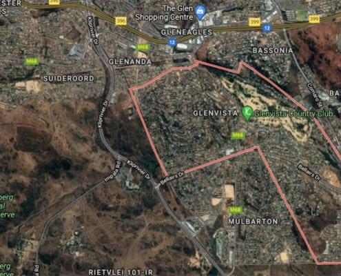 Glenvista suburb satellite view