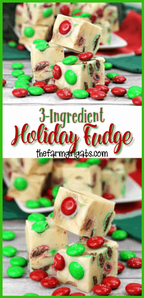 'Tisthe season for some sweet treats. This festive 3-Ingredient Holiday Fudge only takes a few ingredients and a few minutes to make and is so delicious! #FudgeRecipe #Fudge #Candy #ChristmasCookies #HolidayFudge #ChristmasRecipe #CandyRecipe #Christmascookieexchange #Christmascookierecipe #ChristmasCookies