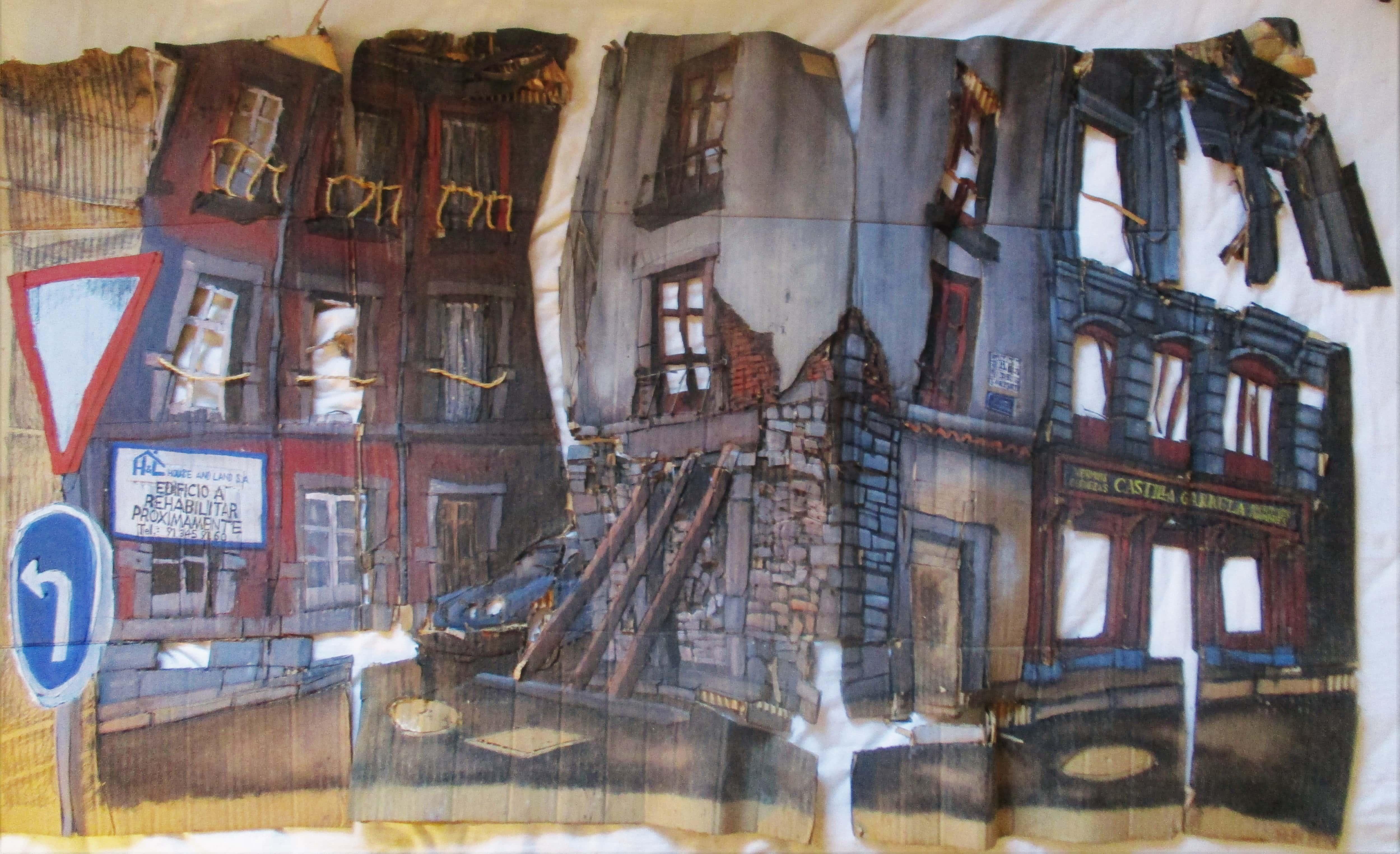 Cartón inacabado de la Plaza de San Martín de Madrid. Técnica mixta sobre cartón, 1999.