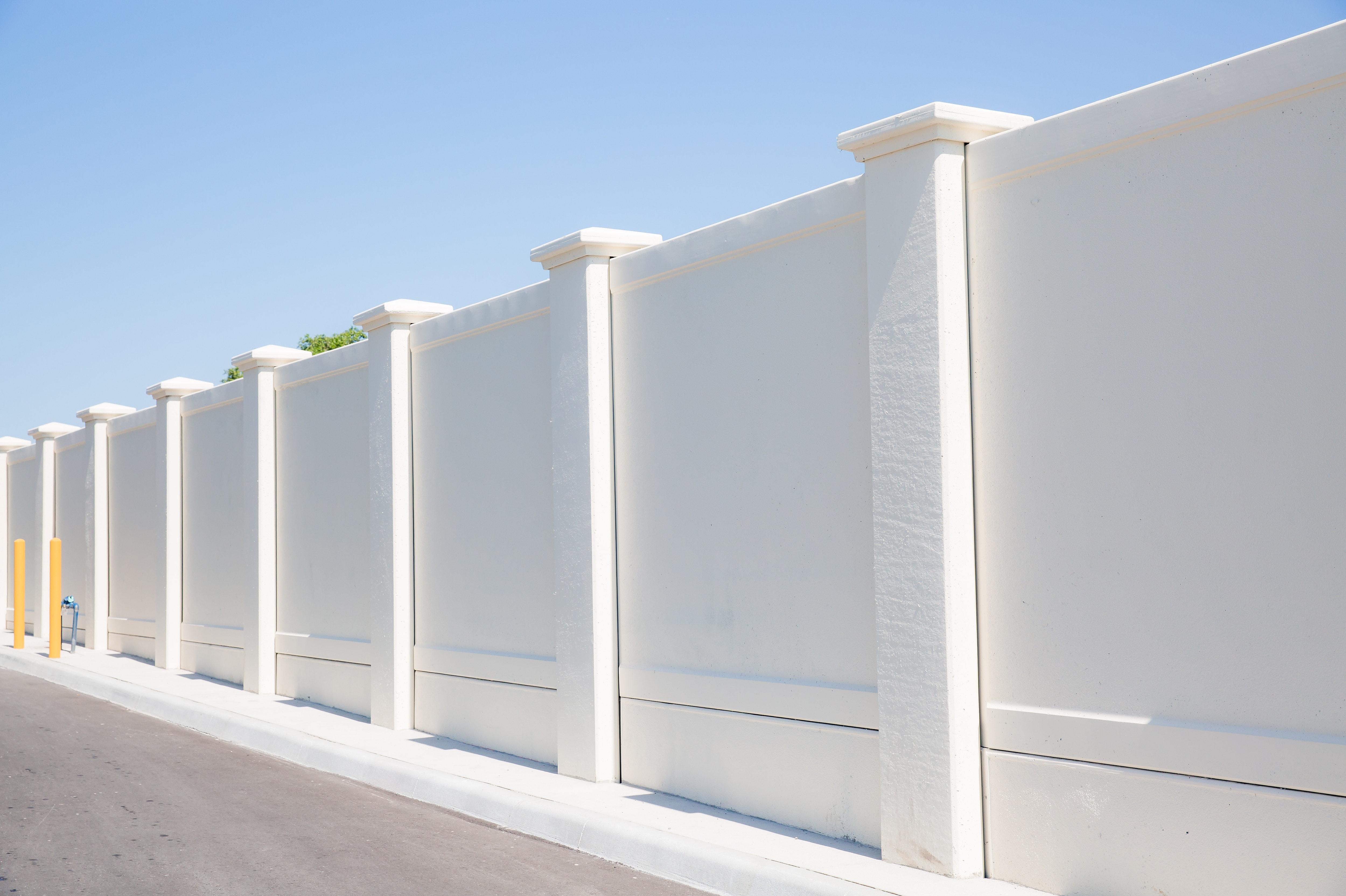 Permacast precast concrete fence in white