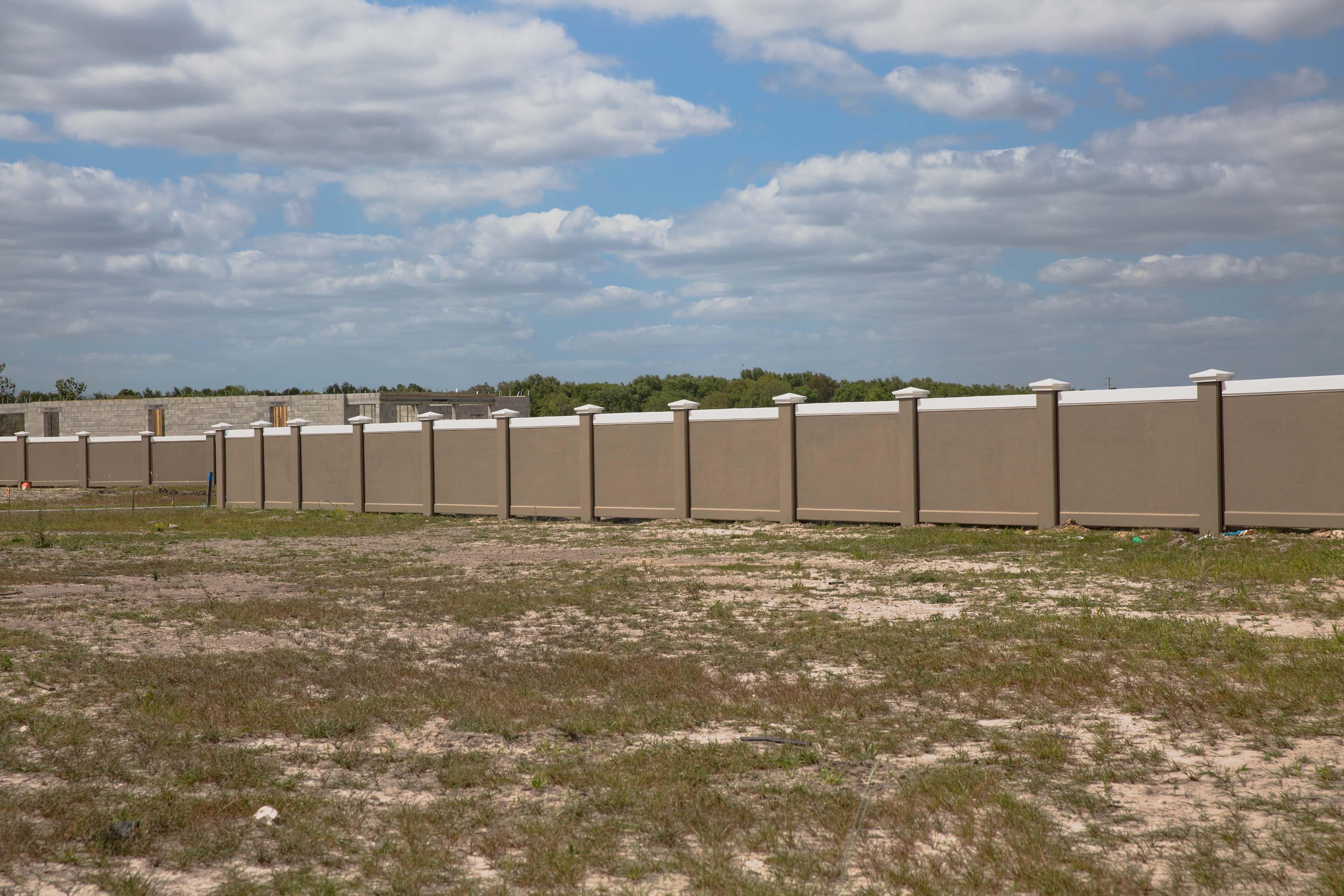 Permacast completed precast concrete fence