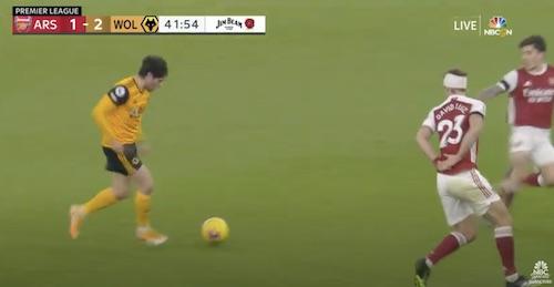 David Luiz Arms Behind Back Defending