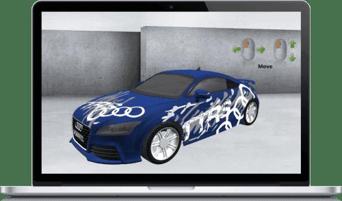 Individualsierbare Fahrzeugbeschriftung - 3D-CAR-Konfigurator - ObjectCode GmbH