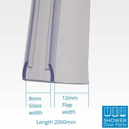Vertical F seals 8mm glass 2000mm long dimensions shower door parts