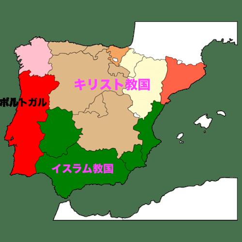 スペイン、イスラムとキリスト教国の地図