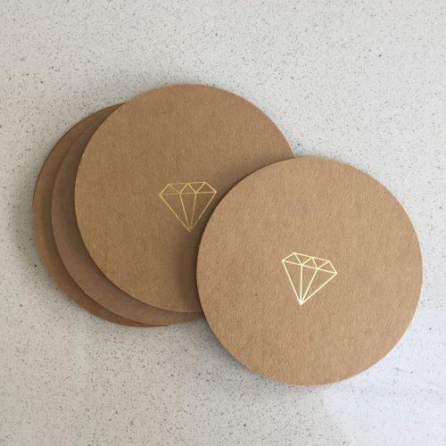 kraft card gold foil beer mats