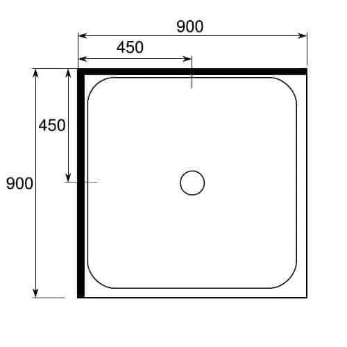 900 x 900 corner Square Shower Trays center waste