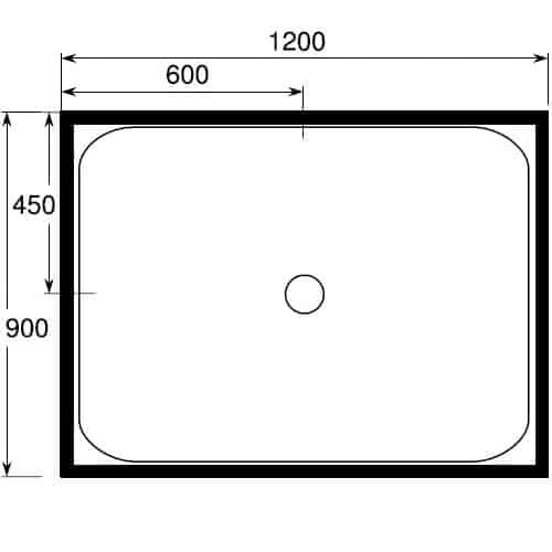 900 x 1200 4 lip center waste tray