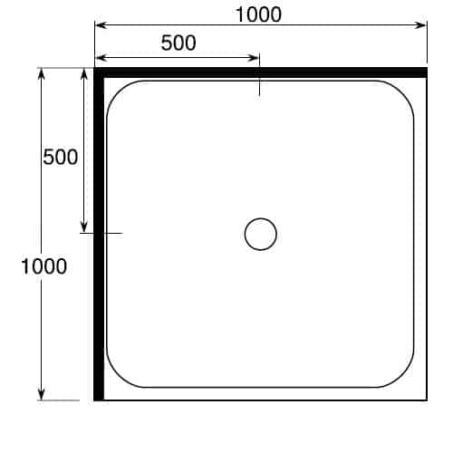 Square Shower Tray 1000 x 1000 2 sided center waste