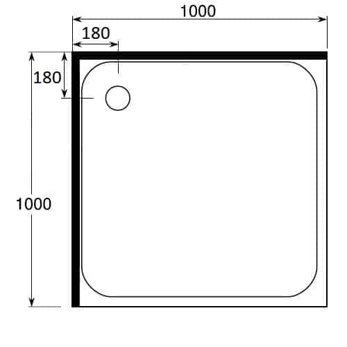 Square Shower Tray 1000 x 1000 2 sided rear waste