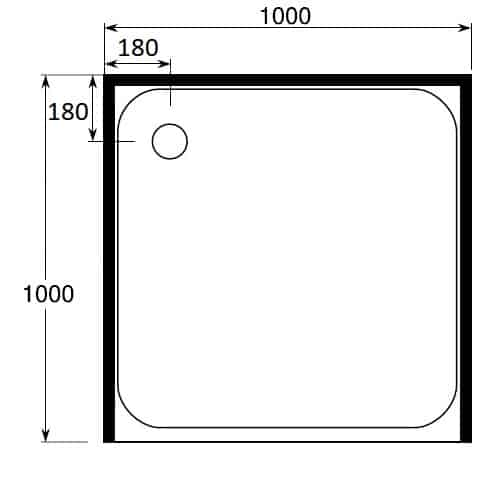 square shower tray 1000 x 1000 3 sided rear corner waste