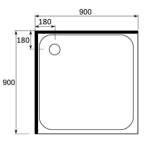 900 x 900 square shower tray 2 sided 900 x 900 rear waste