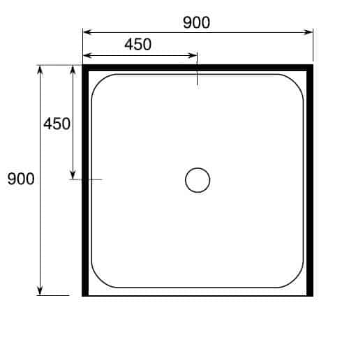 square shower tray 3 sided 900 x 900 center waste