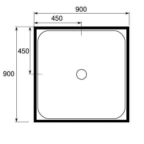 square shower tray 4 lip 900 x 900 center-waste
