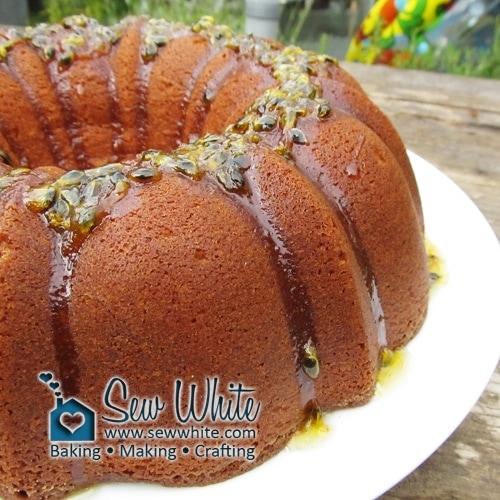 drizzling passionfruit glaze on the Passion Fruit Bundt Cake