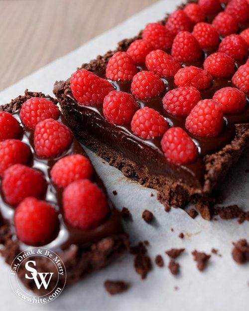 gooey chocolate truffle tart studded with fresh raspberries