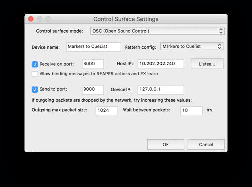 Reaper Add OSC Surface 2