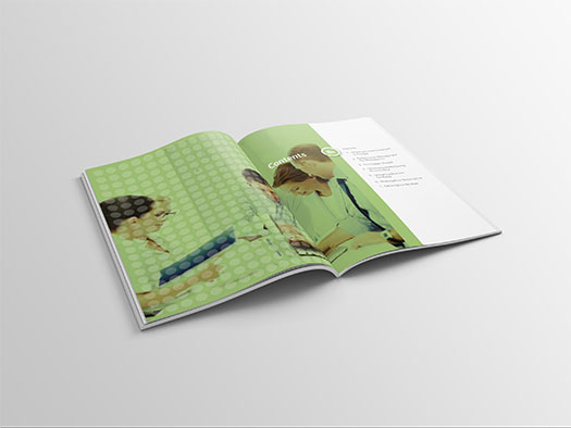 Image shows an internal double spread of the workbook for Training Central's performance management training materials.