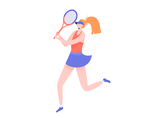 Image shows illustration of a female tennis player getting ready to play Anyone for Tennis?