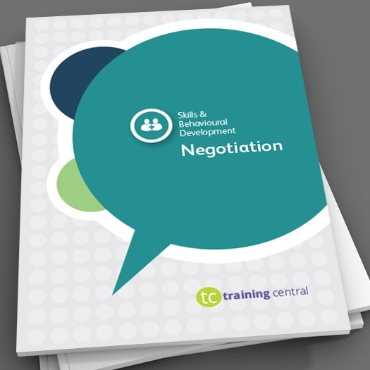 Image shows the cover page of the workbook for Training Central'snegotiation skills training materials.